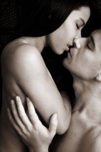 Man and woman burning with desire, about to make love